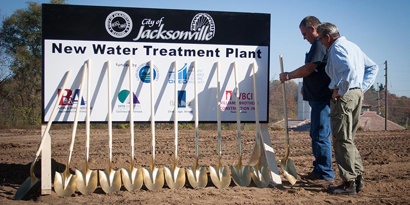 Sign and shovels for groundbreaking ceremony