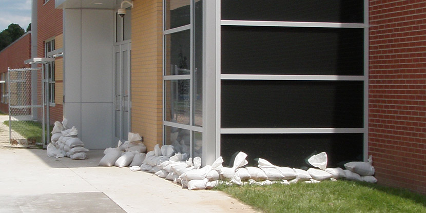 Sand bags outside a building