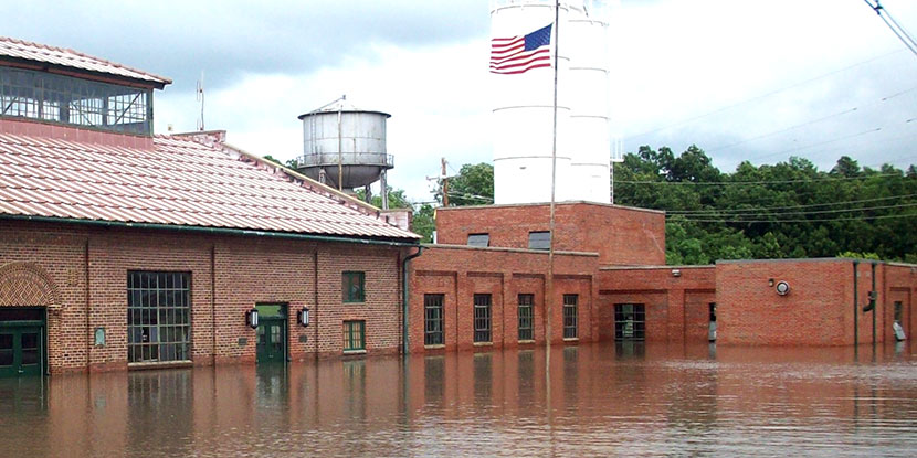 Flooded Water Treatment Plant
